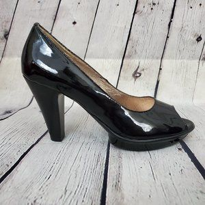 SOFFT Black Patent Peep Toe Cone Heels Shoes 8